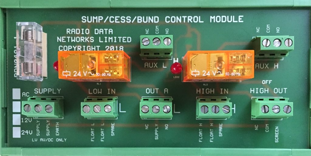 35mm DIN Mounting Cess Pit, SUDS, Bund and Sump Alarm and Control Module