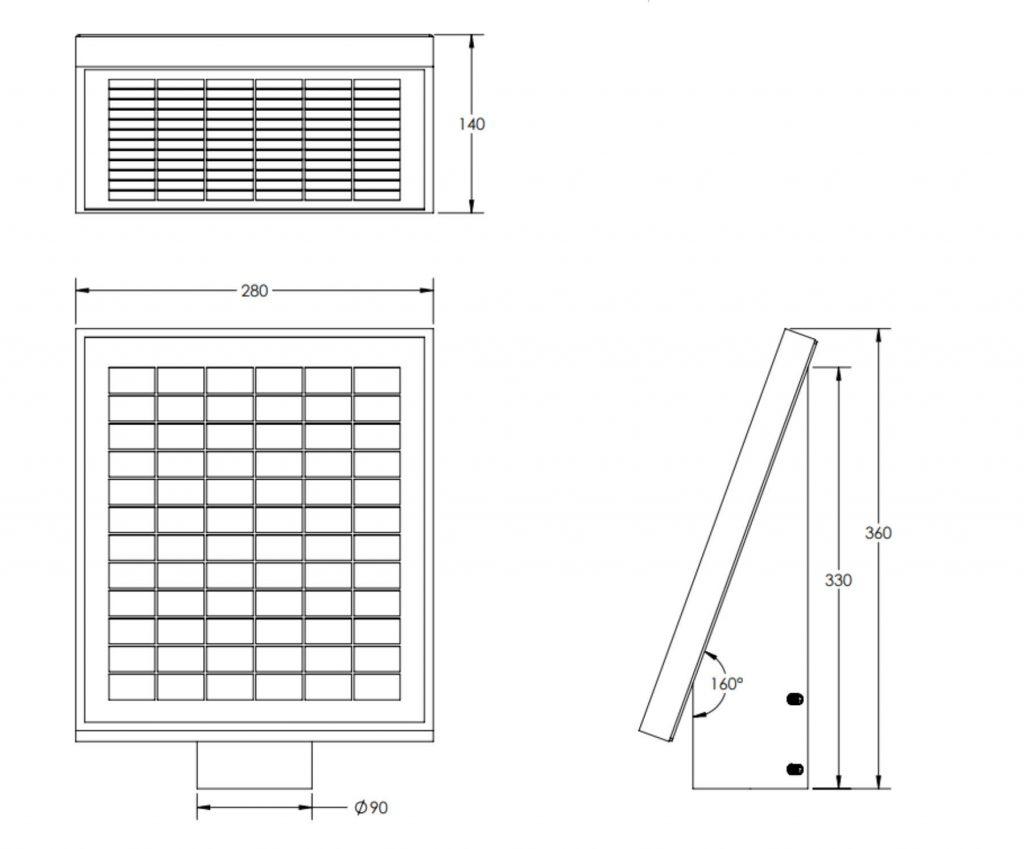 10W 12V Solar Panel pole mount 3 inch