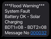 SMS Flood Warning System Fault Message